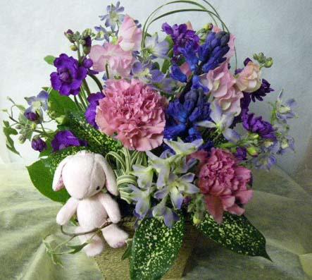 花ギフト フラワーギフト 誕生日 花 カノシェ話題 スタンド花 ウエディングブーケ 花束 花屋 うさ紫