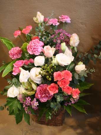 花ギフト フラワーギフト 誕生日 花 カノシェ話題 スタンド花 ウエディングブーケ 花束 花屋 秋ピンク