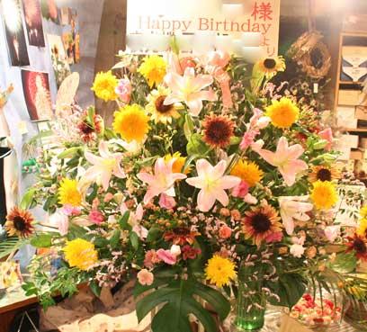 花ギフト フラワーギフト 誕生日 花 カノシェ話題 スタンド花 ウエディングブーケ 花束 花屋 ひまわり2
