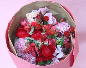 花ギフト|フラワーギフト|誕生日 花|カノシェ話題|スタンド花|ウエディングブーケ|花束|花屋|valentine2012_b_01
