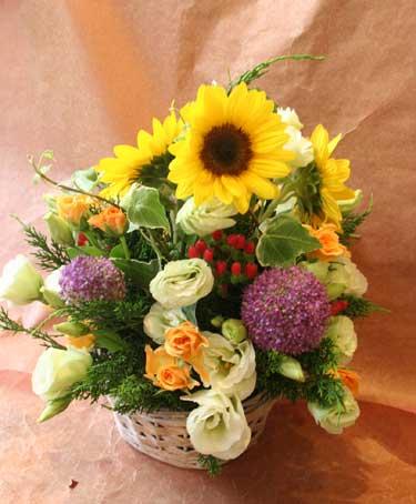 花ギフト フラワーギフト 誕生日 花 カノシェ話題 スタンド花 ウエディングブーケ 花束 花屋 ひまわり