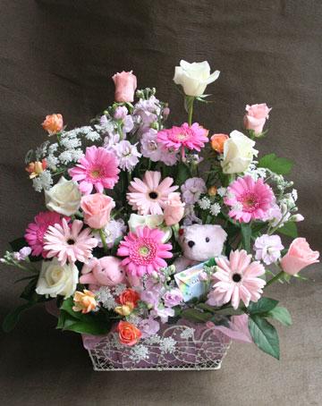 花ギフト フラワーギフト 誕生日 花 カノシェ話題 スタンド花 ウエディングブーケ 花束 花屋 クマ