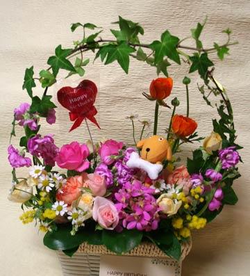 花ギフト フラワーギフト 誕生日 花 カノシェ話題 スタンド花 ウエディングブーケ 花束 花屋 わんこ
