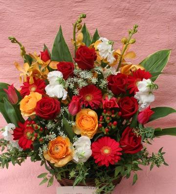 花ギフト|フラワーギフト|誕生日 花|カノシェ話題|スタンド花|ウエディングブーケ|花束|花屋|赤オレンシ&#12441