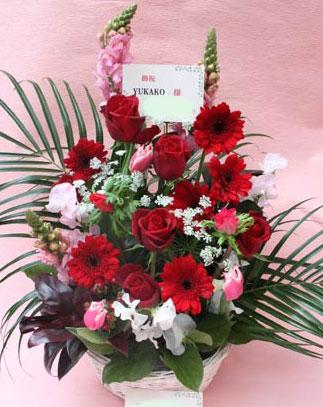 花ギフト フラワーギフト 誕生日 花 カノシェ話題 スタンド花 ウエディングブーケ 花束 花屋 kayoko赤
