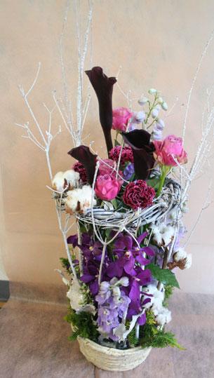 花ギフト|フラワーギフト|誕生日 花|カノシェ話題|スタンド花|ウエディングブーケ|花束|花屋|むらさき
