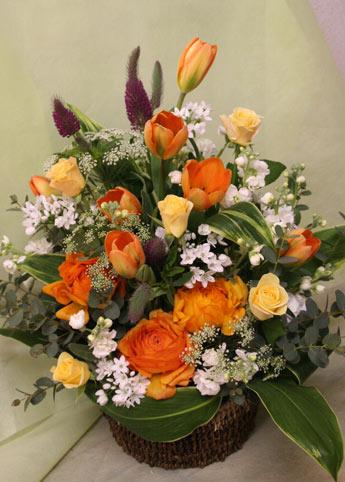 花ギフト フラワーギフト 誕生日 花 カノシェ話題 スタンド花 ウエディングブーケ 花束 花屋 オレンジラナン