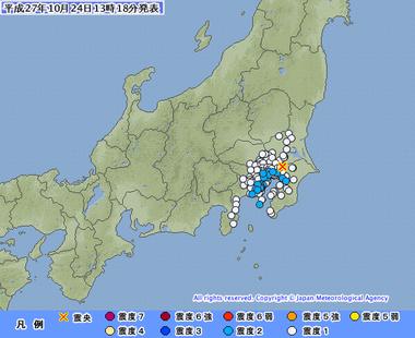 千葉県北西部 地震 201510月24日1314