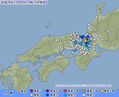 地震 滋賀県北部20141226