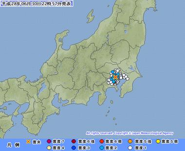 東京都23区 地震 画像 201606302254