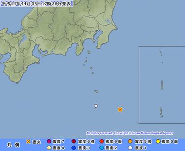 八丈島東方沖 地震 2015年11月5日1723