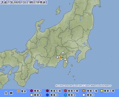 静岡県東部 8月27日2302 地震
