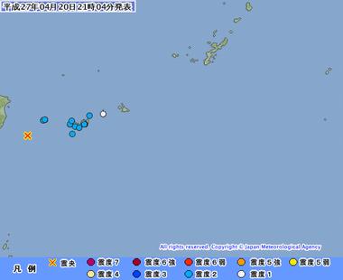 与那国島近海 台湾 沖縄 地震 4月20日