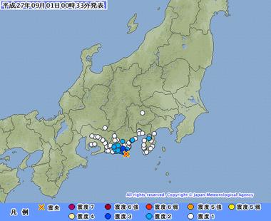 静岡県西部 9月1日0033 地震