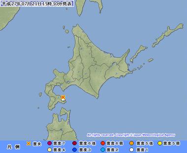 内浦湾 地震 7月21日1527