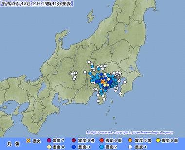 山梨県東部・富士五湖 地震 神奈川