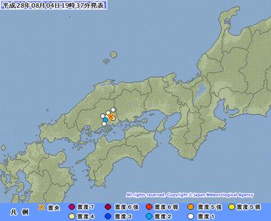 広島県南東部 地震 画像 201608041934
