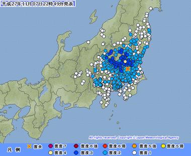 茨城県南部 地震 2015年11月7日2245