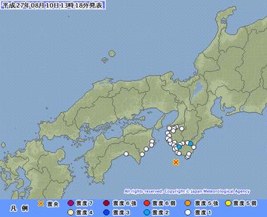 和歌山県南方沖 地震 8月10日1315