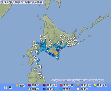 十勝地方南部 地震 震度3 北海道 札幌