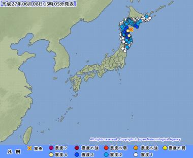 平成27年06月08日15時05分 青森県東方沖 地震
