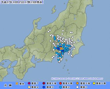 山梨県東部・富士五湖 地震 2015年10月25日1715
