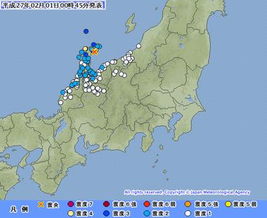 石川県能登地方 地震 震度4