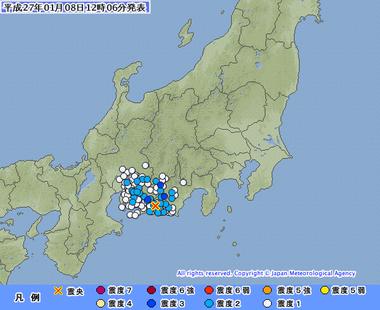 地震 静岡県西部 2015年1月8日1202