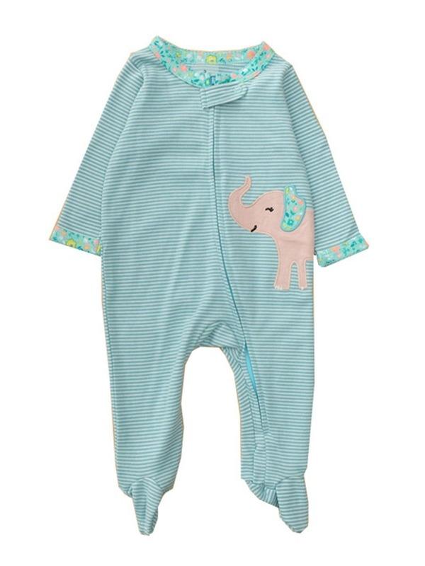 kiskissing-wholesale-baby-elephant-stripe-footed-jumpsuit