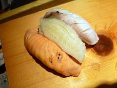ちょこっと寿し_炙りサーモン+炙りカンパチ+炙りエンガワ_201611