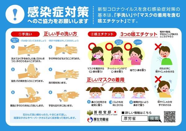手洗いマスク咳エチケット