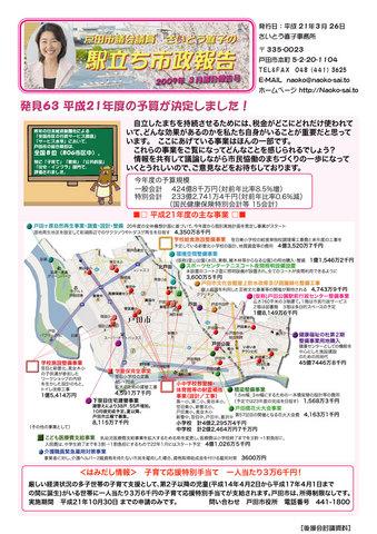 戸田市議さいとう直子の駅立ち市政報告(2009年3月)