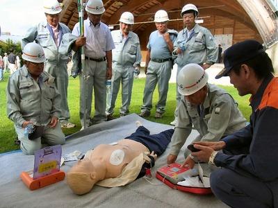 救急救命訓練AED操作