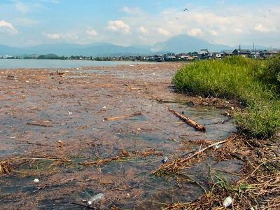 川が運んだ大量のゴミ