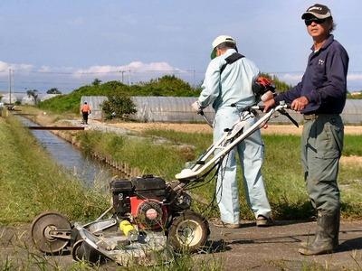 水路溝畔法面の草刈り