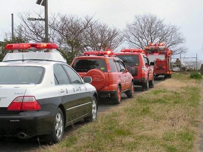 朝妻港に集まった緊急自動車