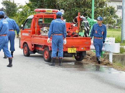 消防団の点検と訓練