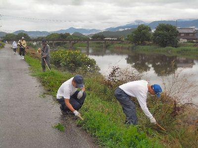 天野川の堤防草刈り