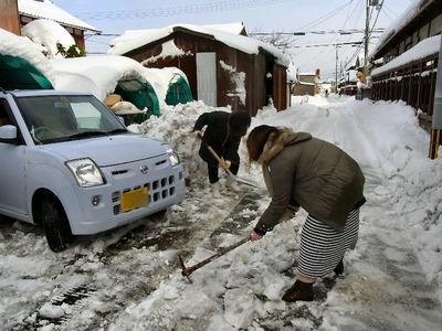 圧雪と格闘