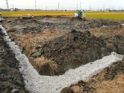 田んぼの湧水対策