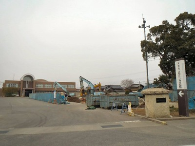近江体育館の解体工事現場