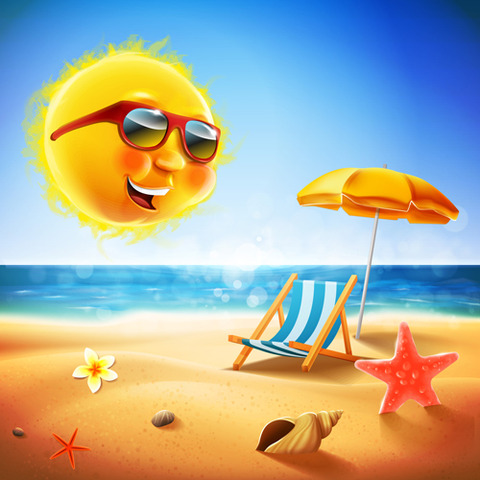Hot-summer-holiday-background-with-funny-sun-vector-05