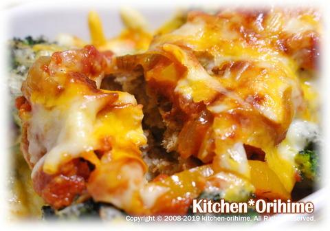 煮込みハンバーグのチーズ焼き-断面