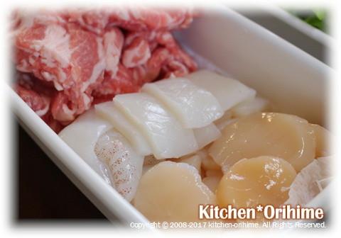 八宝菜の材料-お肉&海鮮