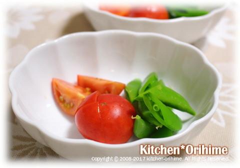 カットトマト&茹でスナップエンドウ