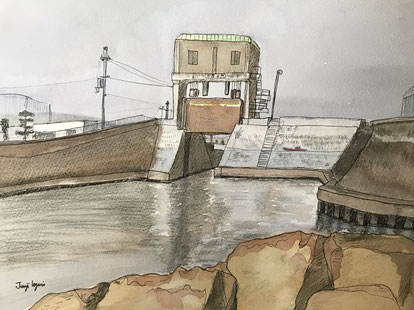 17-05「水門のある風景1」魚住潤二