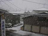 雪です。屋根工事は中断です。