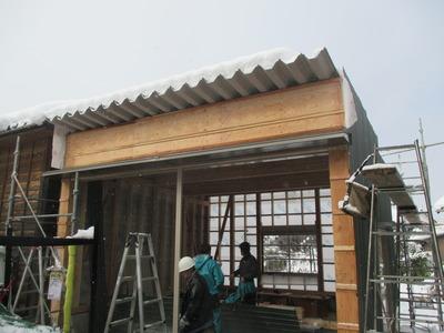 新潟県三条市の屋根外壁塗装リフォーム専門店 遠藤組 車庫屋根折板葺き外壁角波カラーGL張