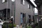 屋根塗装工事の足場掛け作業