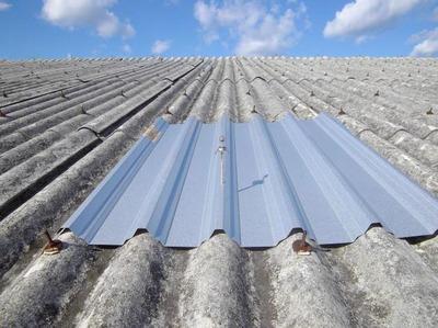 新潟県三条市の屋根外壁塗装リフォーム専門店《遠藤組》スレート屋根カバー工事、ニスクのエバールーフやまなみ2型
